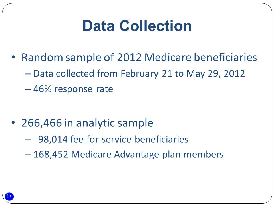 17 Data Collection Random sample of 2012 Medicare beneficiaries – Data collected from February 21 to May 29, 2012 – 46% response rate 266,466 in analytic sample – 98,014 fee-for service beneficiaries – 168,452 Medicare Advantage plan members