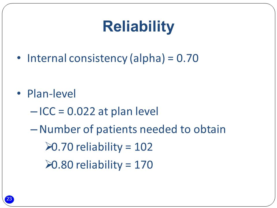 23 Reliability Internal consistency (alpha) = 0.70 Plan-level – ICC = at plan level – Number of patients needed to obtain  0.70 reliability = 102  0.80 reliability = 170