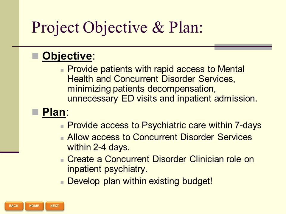 Project Objective & Plan: Objective: Provide patients with rapid access to Mental Health and Concurrent Disorder Services, minimizing patients decompe