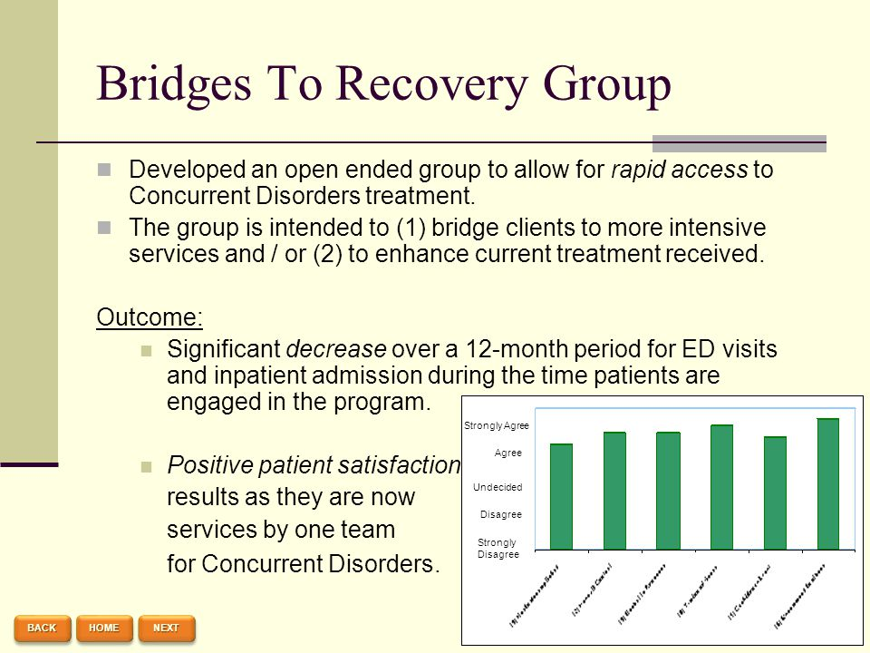 Bridges To Recovery Group Developed an open ended group to allow for rapid access to Concurrent Disorders treatment. The group is intended to (1) brid