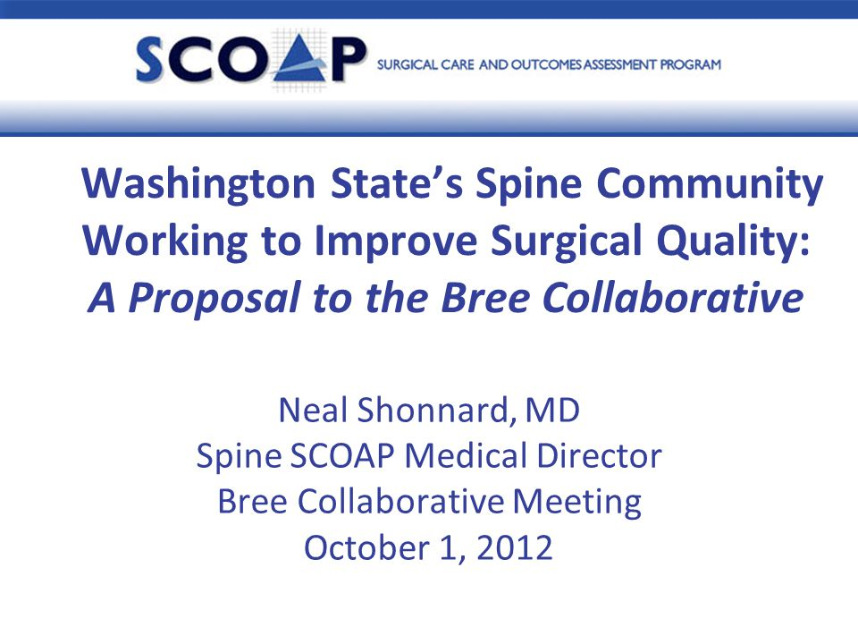 Presentation Outline Recap of Bree Collaborative vote at August 1 st Bree Collaborative meeting Recap of Spine SCOAP Registry Proposal to Bree Collaborative Background on Spine SCOAP Registry components Benefits of Spine SCOAP to hospitals/communities Enforcement Next Steps 2