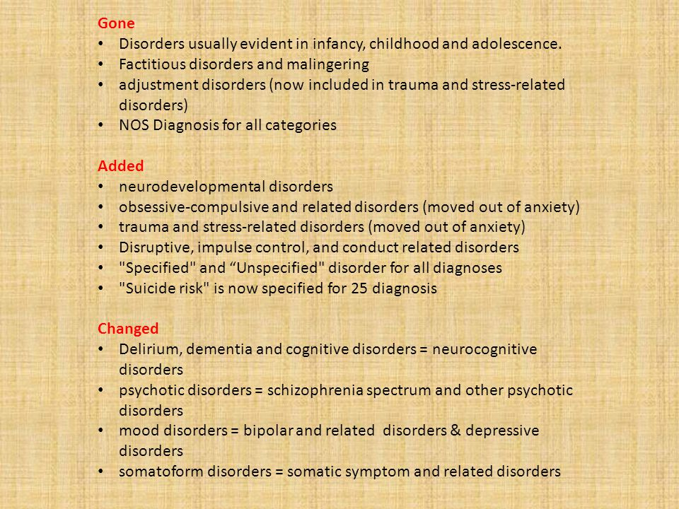 6. Highlight of specific changes in diagnosis