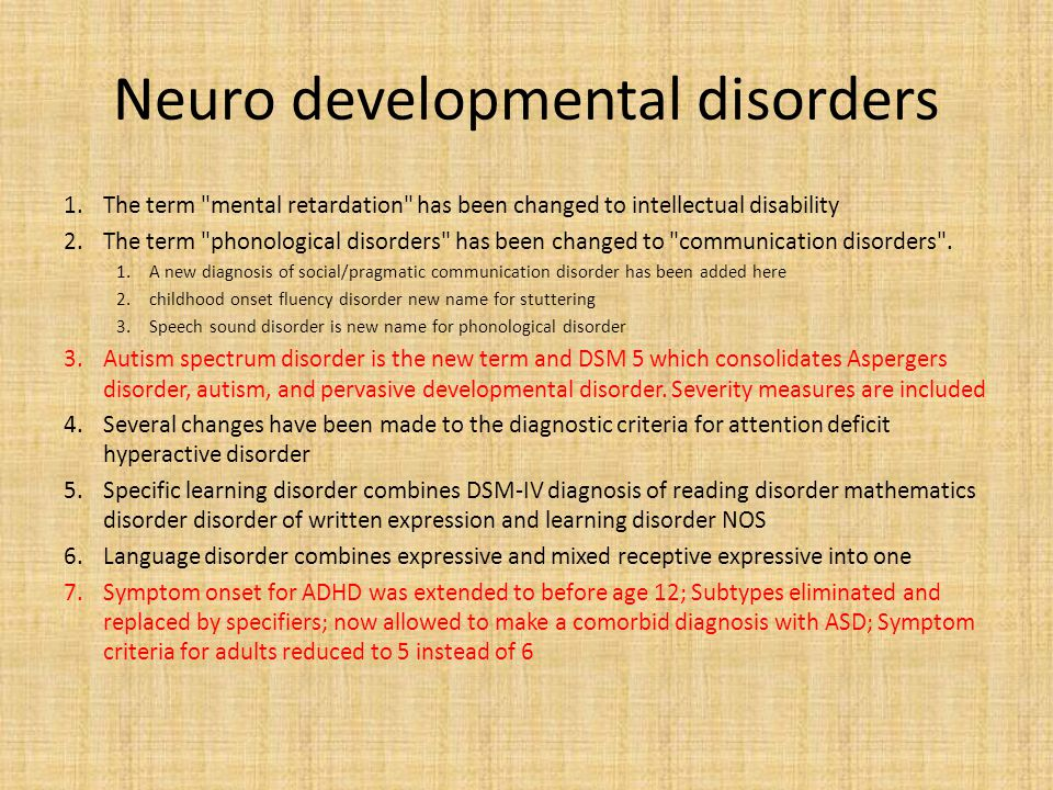 Gone Disorders usually evident in infancy, childhood and adolescence.