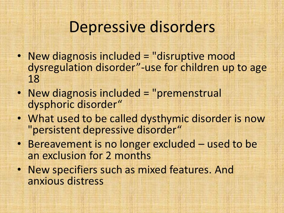 Bipolar and related disorders Diagnosis must now include both changes in mood and changes in activity/energy level Some particular conditions can now be diagnosed under other specified bipolar and related disorders An anxiety specifier has now been included Attempts made to clarify definition of hypomania .