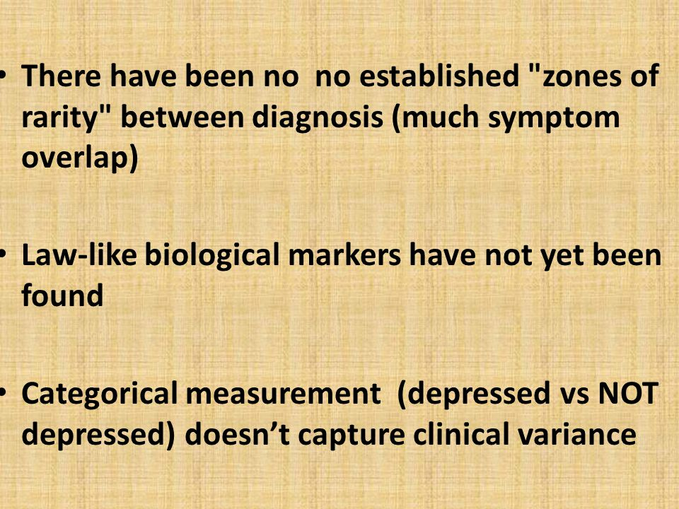 Other problems Separates diagnoses from treatment Diagnosis has become an end in itself.