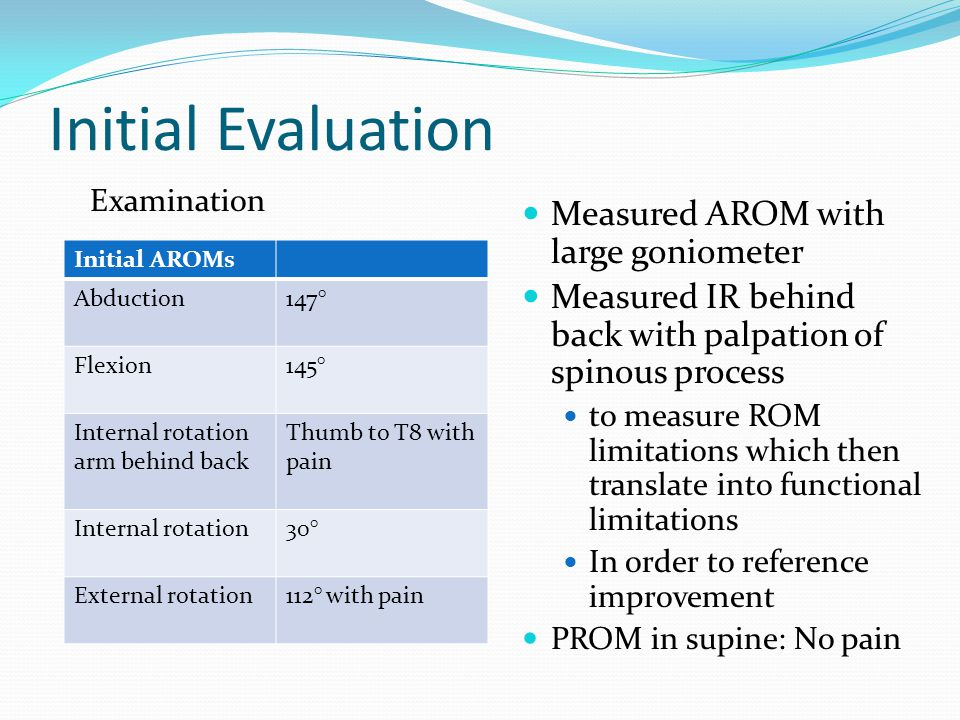 Initial Evaluation Measured AROM with large goniometer Measured IR behind back with palpation of spinous process to measure ROM limitations which then