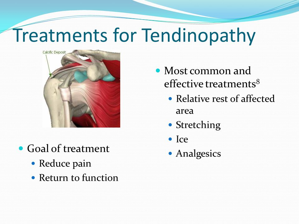 Treatments for Tendinopathy Goal of treatment Reduce pain Return to function Most common and effective treatments 8 Relative rest of affected area Str