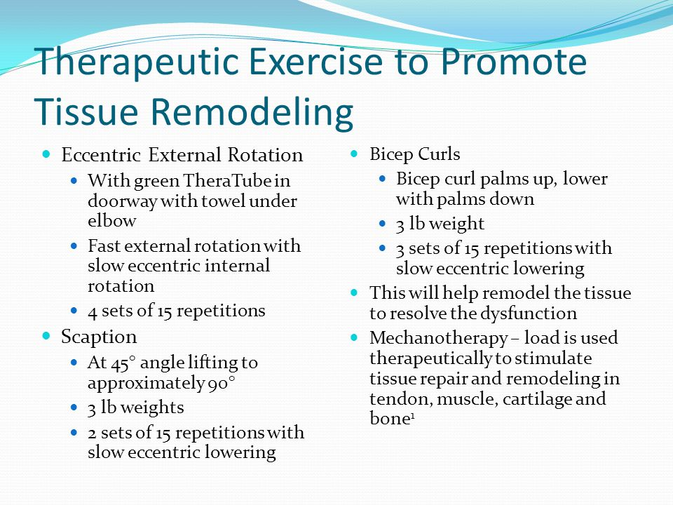 Therapeutic Exercise to Promote Tissue Remodeling Eccentric External Rotation With green TheraTube in doorway with towel under elbow Fast external rot