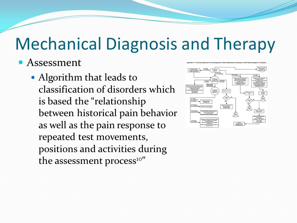 """Mechanical Diagnosis and Therapy Assessment Algorithm that leads to classification of disorders which is based the """"relationship between historical pa"""