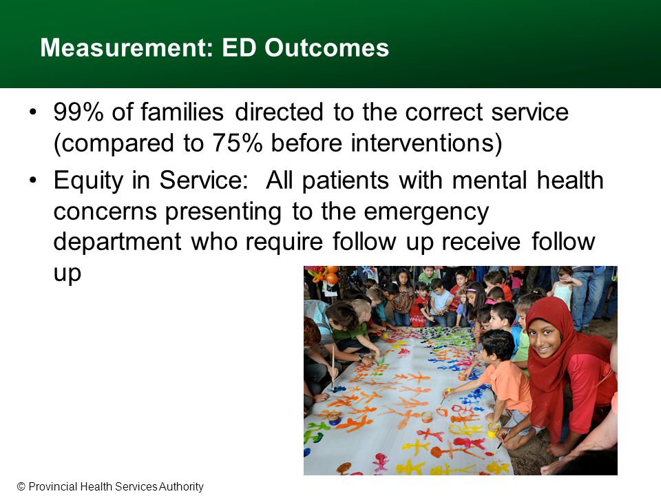© Provincial Health Services Authority Measurement: ED Outcomes 99% of families directed to the correct service (compared to 75% before interventions) Equity in Service: All patients with mental health concerns presenting to the emergency department who require follow up receive follow up