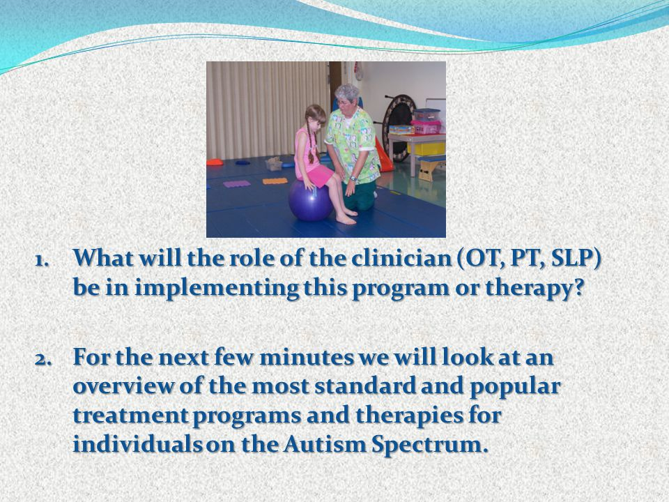 1. What will the role of the clinician (OT, PT, SLP) be in implementing this program or therapy? 2. For the next few minutes we will look at an overvi
