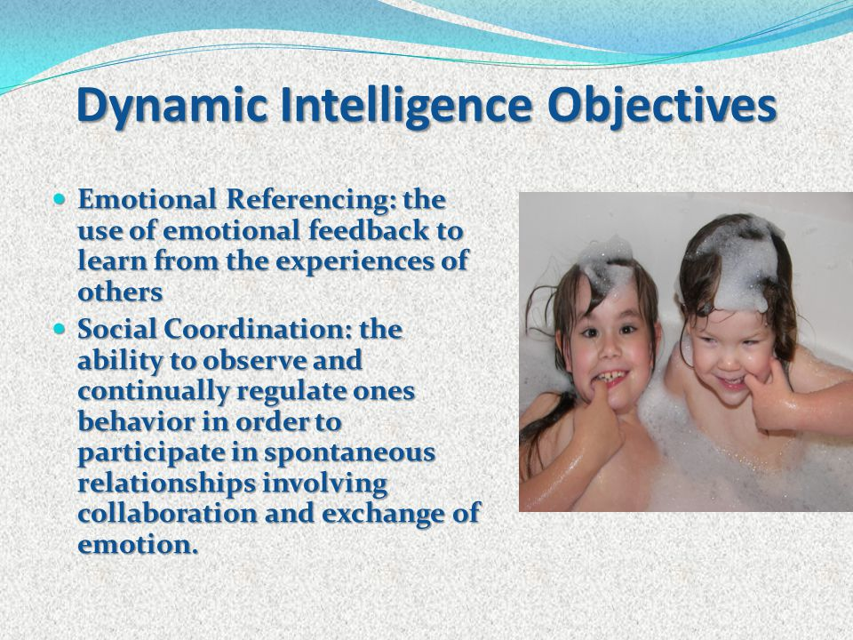 Dynamic Intelligence Objectives Emotional Referencing: the use of emotional feedback to learn from the experiences of others Emotional Referencing: th