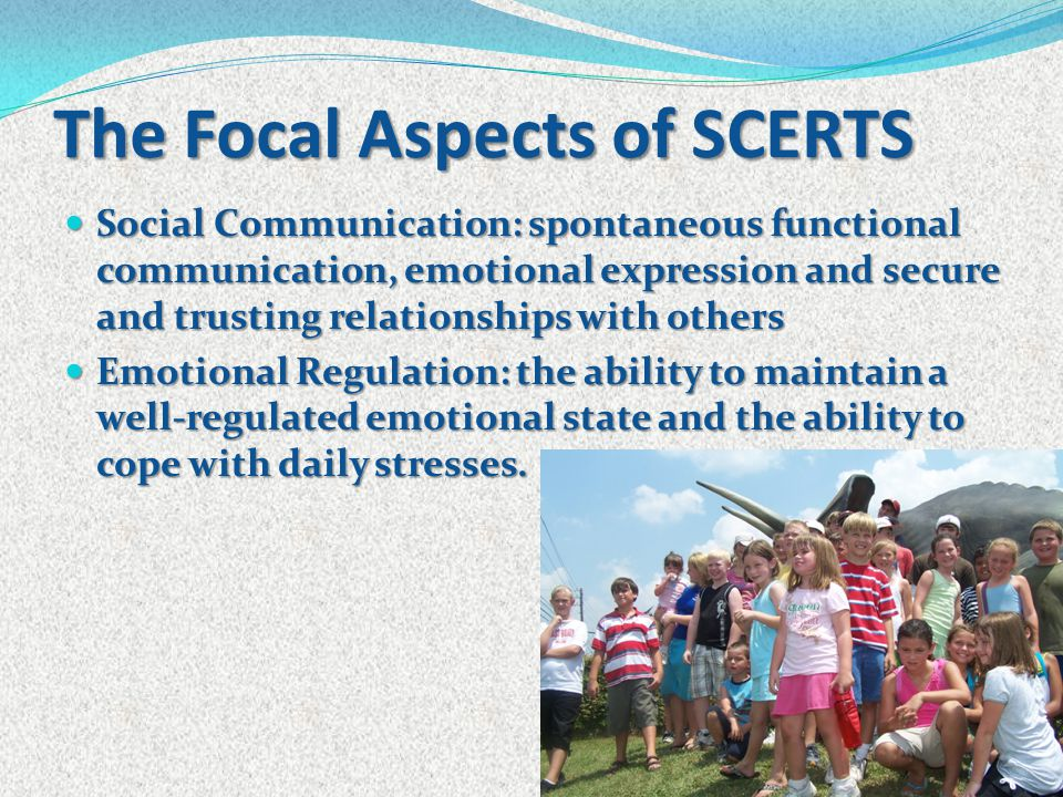 The Focal Aspects of SCERTS Social Communication: spontaneous functional communication, emotional expression and secure and trusting relationships wit