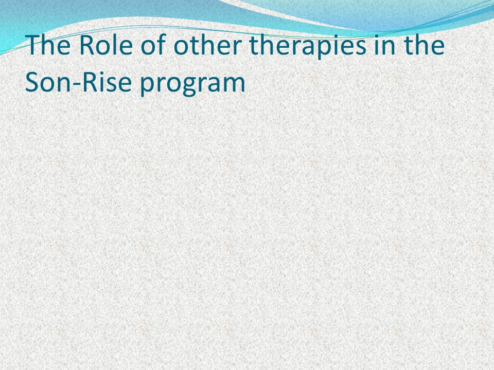 The Role of other therapies in the Son-Rise program