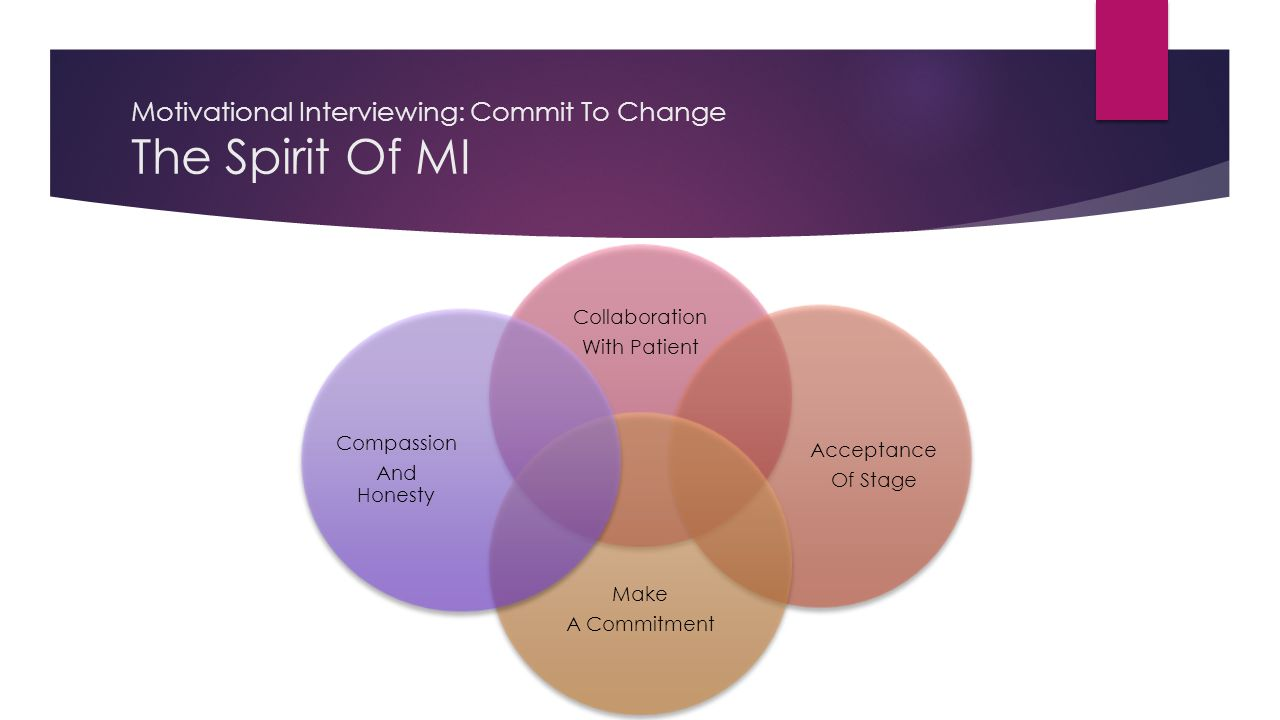 Motivational Interviewing: Commit To Change The Spirit Of MI Collaboration With Patient Acceptance Of Stage Make A Commitment Compassion And Honesty