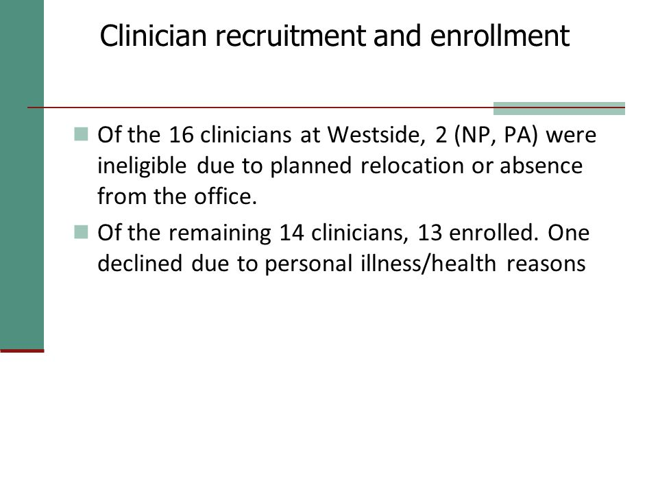 Clinician recruitment and enrollment Of the 16 clinicians at Westside, 2 (NP, PA) were ineligible due to planned relocation or absence from the office