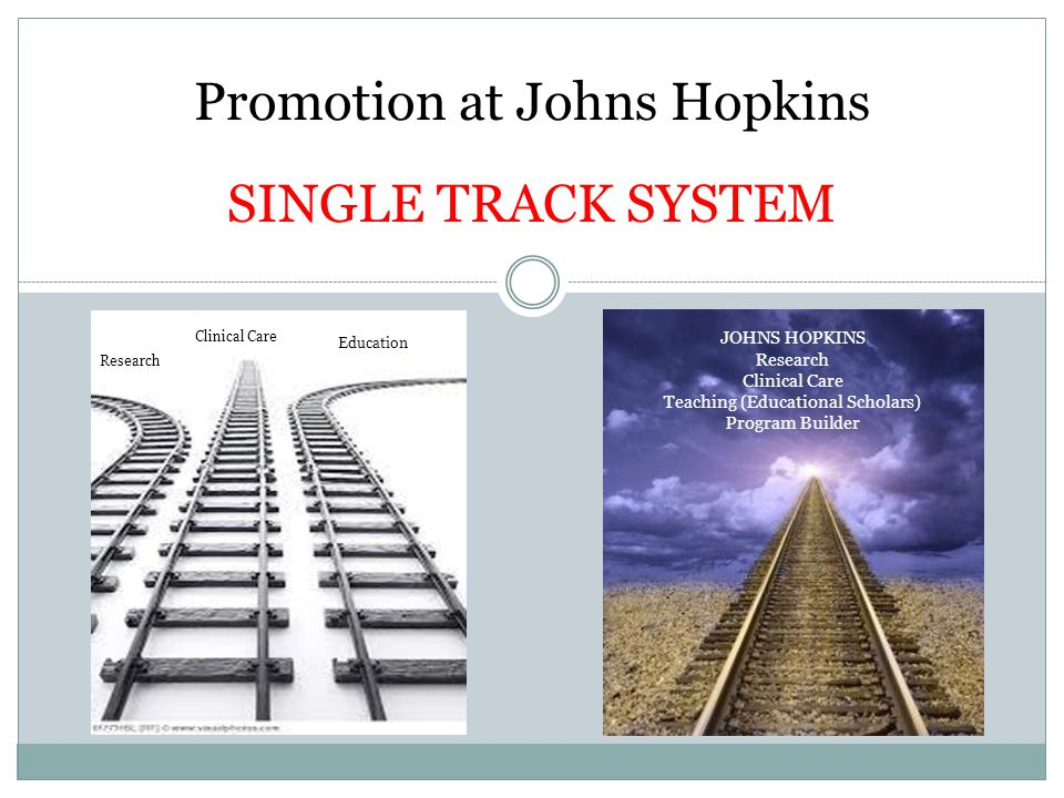 Promotion at Johns Hopkins SINGLE TRACK SYSTEM Research Clinical Care Education JOHNS HOPKINS Research Clinical Care Teaching (Educational Scholars) Program Builder