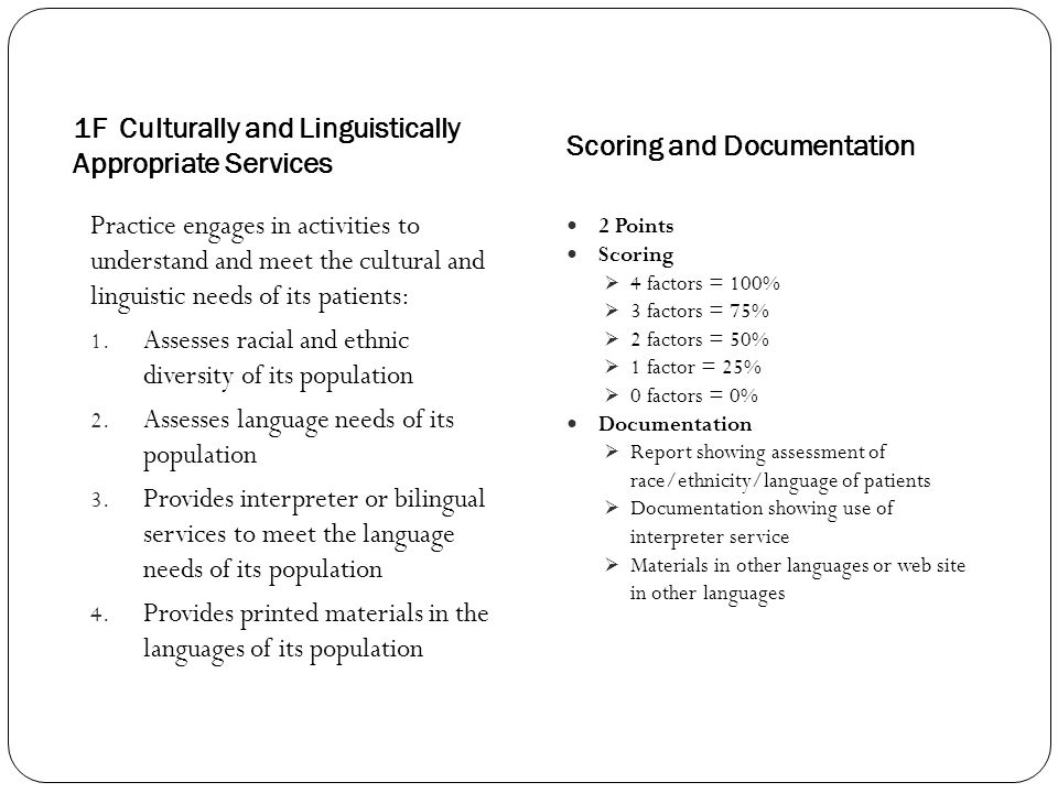 1F Culturally and Linguistically Appropriate Services Scoring and Documentation Practice engages in activities to understand and meet the cultural and linguistic needs of its patients: 1.