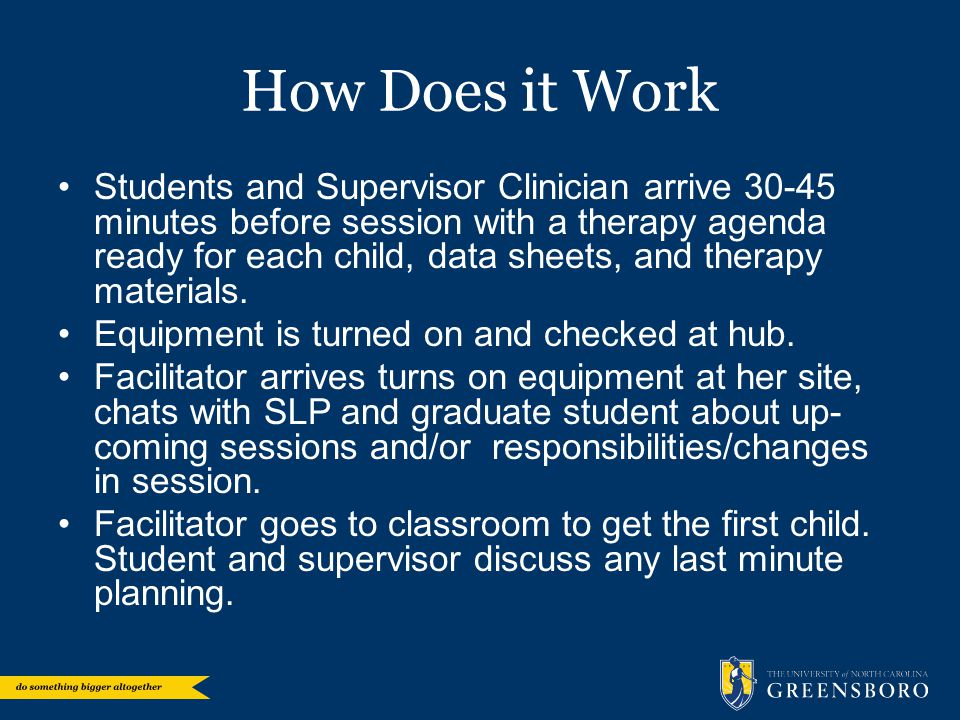 How Does it Work Students and Supervisor Clinician arrive 30-45 minutes before session with a therapy agenda ready for each child, data sheets, and th