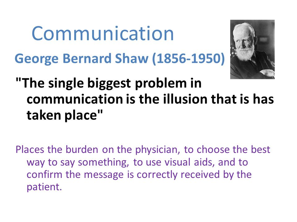 Communication George Bernard Shaw (1856-1950) The single biggest problem in communication is the illusion that is has taken place Places the burden on the physician, to choose the best way to say something, to use visual aids, and to confirm the message is correctly received by the patient.