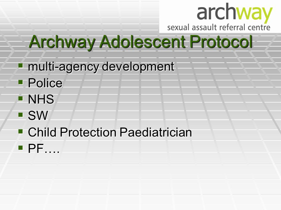 Archway Adolescent Protocol  multi-agency development  Police  NHS  SW  Child Protection Paediatrician  PF….