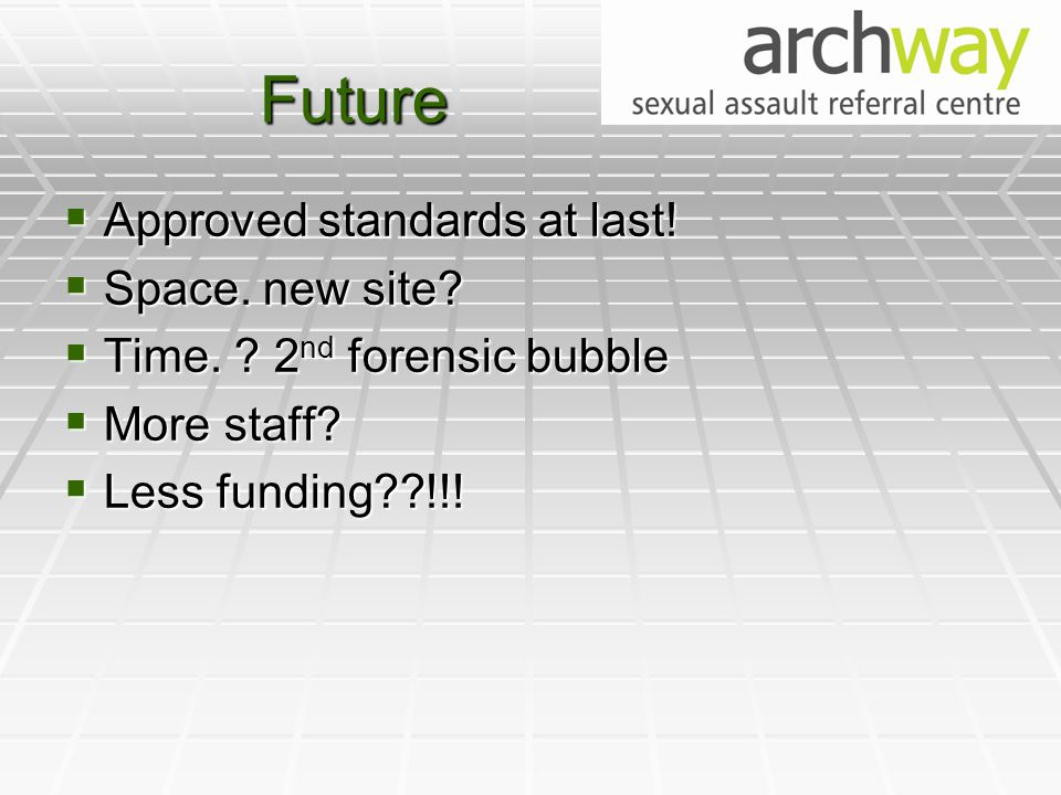 Future  Approved standards at last.  Space. new site.