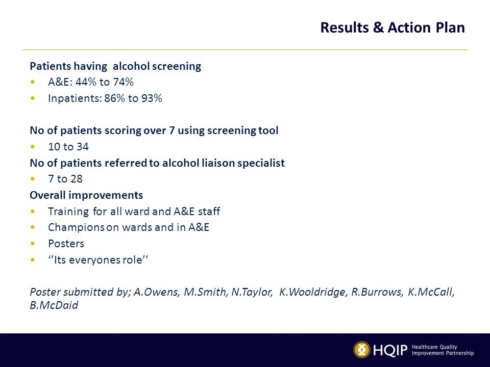 Results & Action Plan Patients having alcohol screening A&E: 44% to 74% Inpatients: 86% to 93% No of patients scoring over 7 using screening tool 10 to 34 No of patients referred to alcohol liaison specialist 7 to 28 Overall improvements Training for all ward and A&E staff Champions on wards and in A&E Posters ''Its everyones role'' Poster submitted by; A.Owens, M.Smith, N.Taylor, K.Wooldridge, R.Burrows, K.McCall, B.McDaid