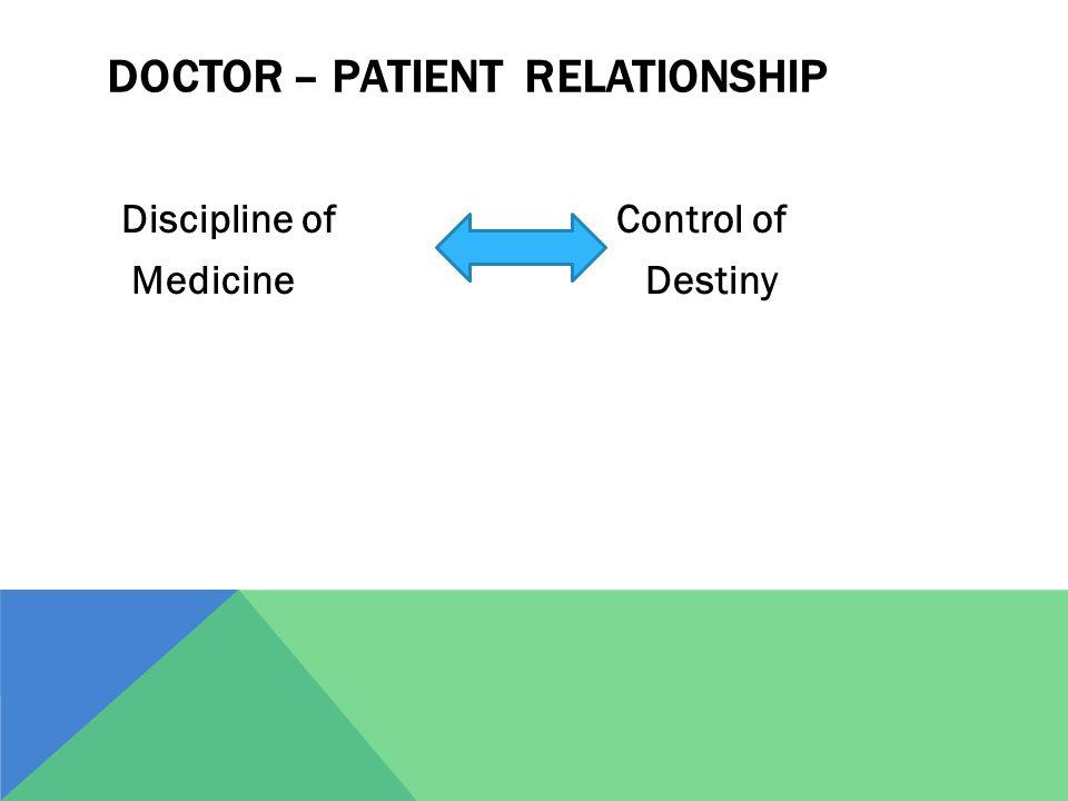 DOCTOR – PATIENT RELATIONSHIP Discipline of Control of Medicine Destiny