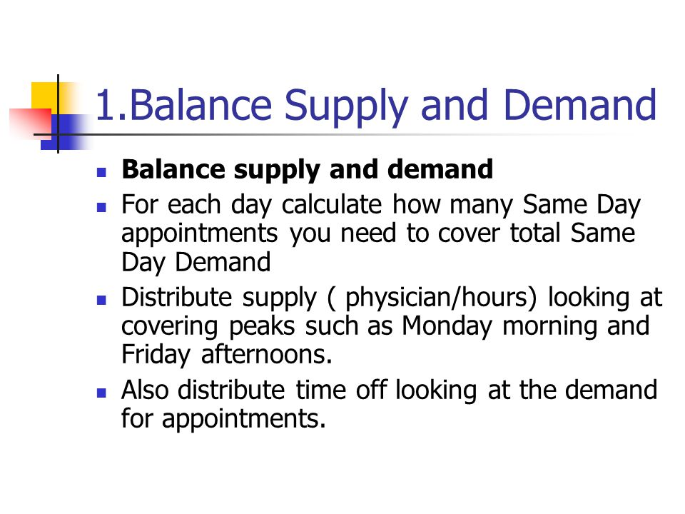 1.Balance Supply and Demand Balance supply and demand For each day calculate how many Same Day appointments you need to cover total Same Day Demand Di