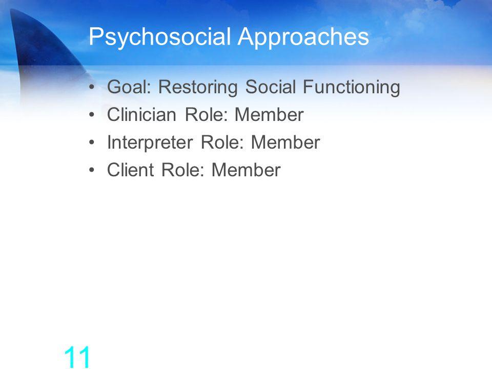 Psychosocial Approaches Goal: Restoring Social Functioning Clinician Role: Member Interpreter Role: Member Client Role: Member 11