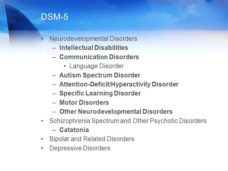DSM-5 Neurodevelopmental Disorders –Intellectual Disabilities –Communication Disorders Language Disorder –Autism Spectrum Disorder –Attention-Deficit/