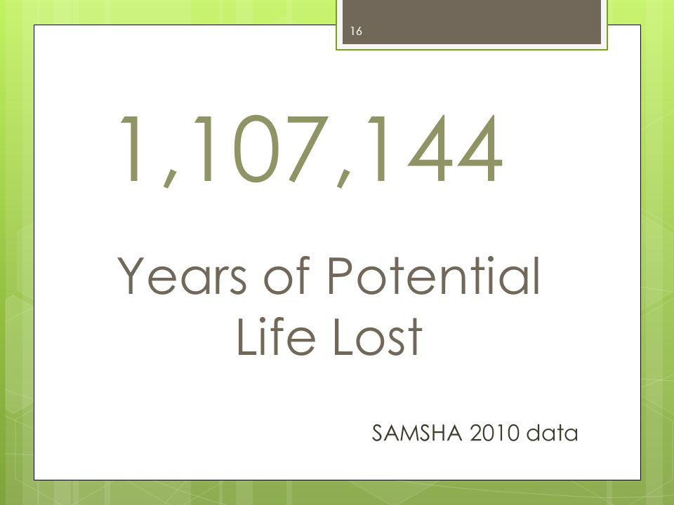1,107,144 Years of Potential Life Lost 16 SAMSHA 2010 data