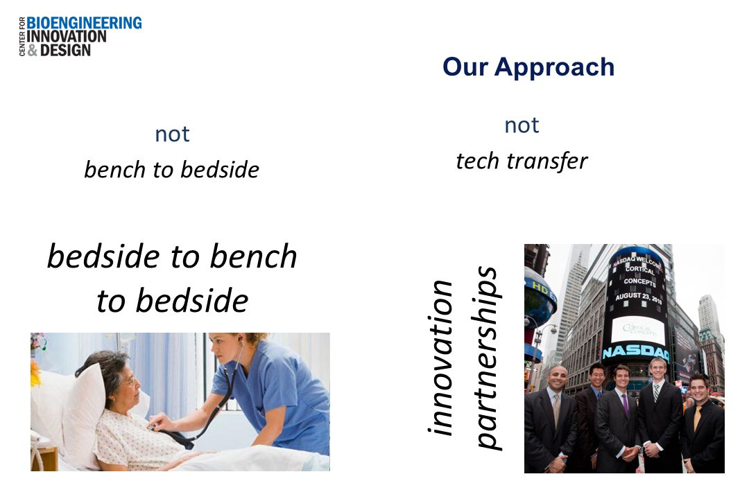 not bench to bedside bedside to bench to bedside Our Approach not tech transfer innovation partnerships