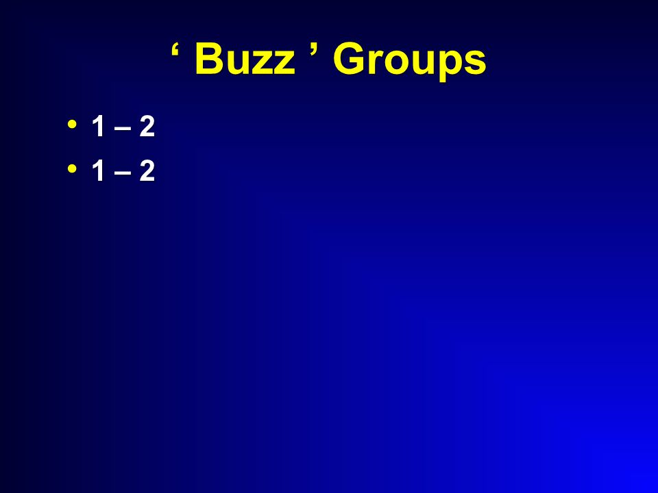 ' Buzz ' Groups 1 – 2 1 – 2