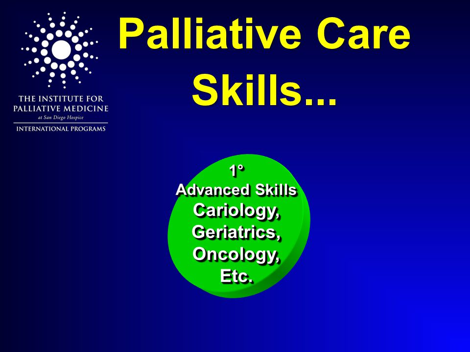Palliative Care Skills... 1° Advanced Skills Cariology, Geriatrics, Oncology, Etc.