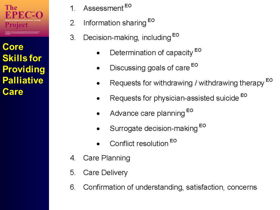 Core Skills for Providing Palliative Care