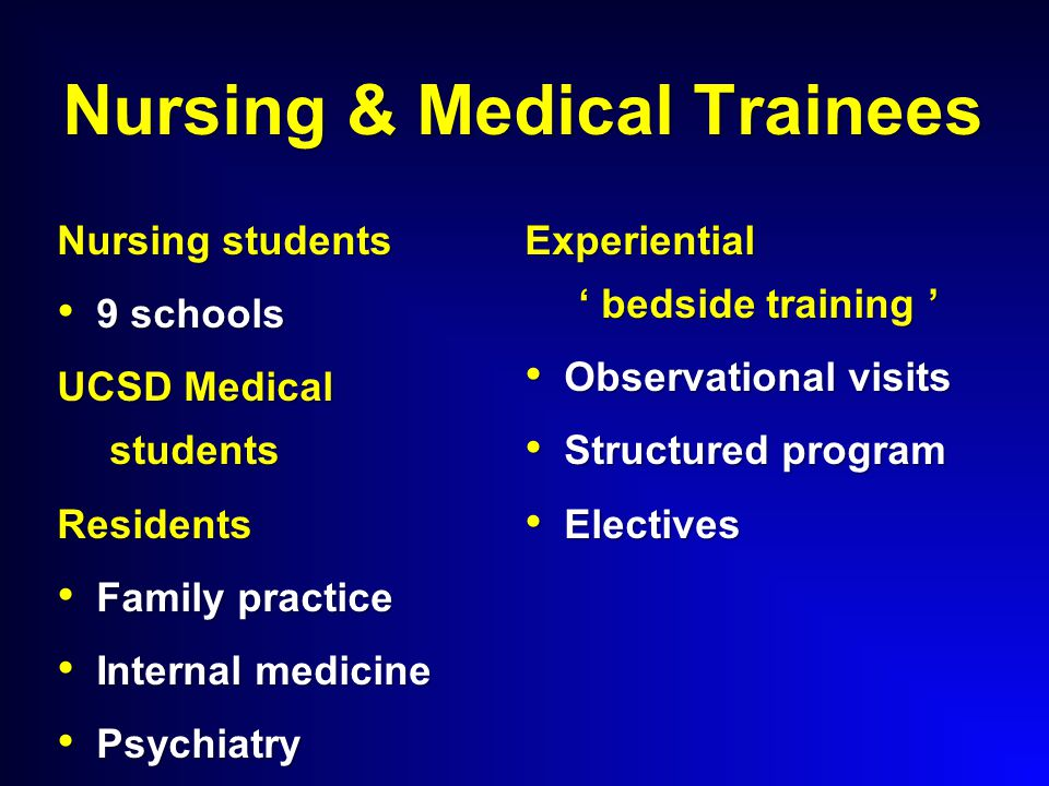 Nursing & Medical Trainees Nursing students 9 schools 9 schools UCSD Medical students Residents Family practice Family practice Internal medicine Internal medicine Psychiatry Psychiatry Experiential ' bedside training ' Observational visits Observational visits Structured program Structured program Electives Electives