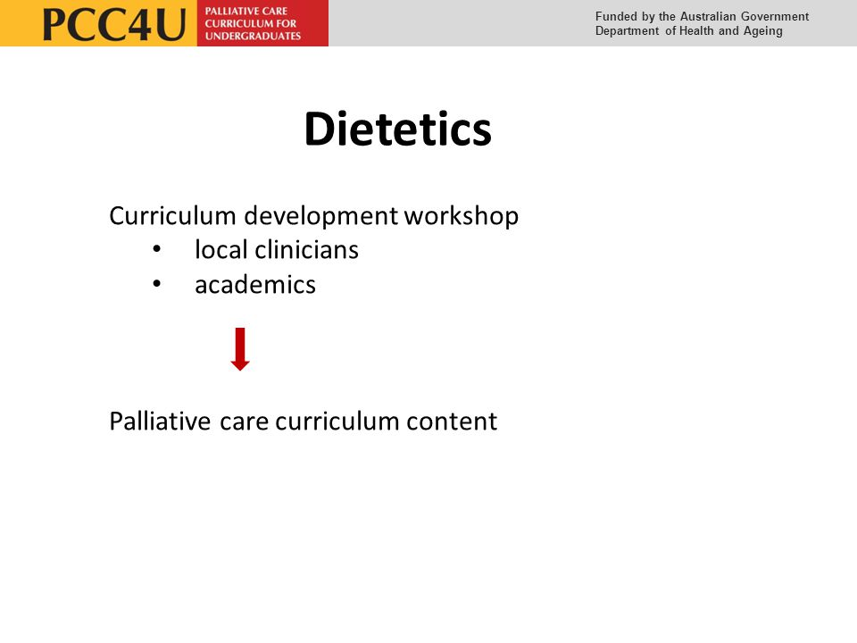 Funded by the Australian Government Department of Health and Ageing Dietetics Curriculum development workshop local clinicians academics Palliative care curriculum content