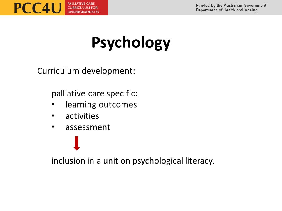 Funded by the Australian Government Department of Health and Ageing Psychology Curriculum development: palliative care specific: learning outcomes activities assessment inclusion in a unit on psychological literacy.