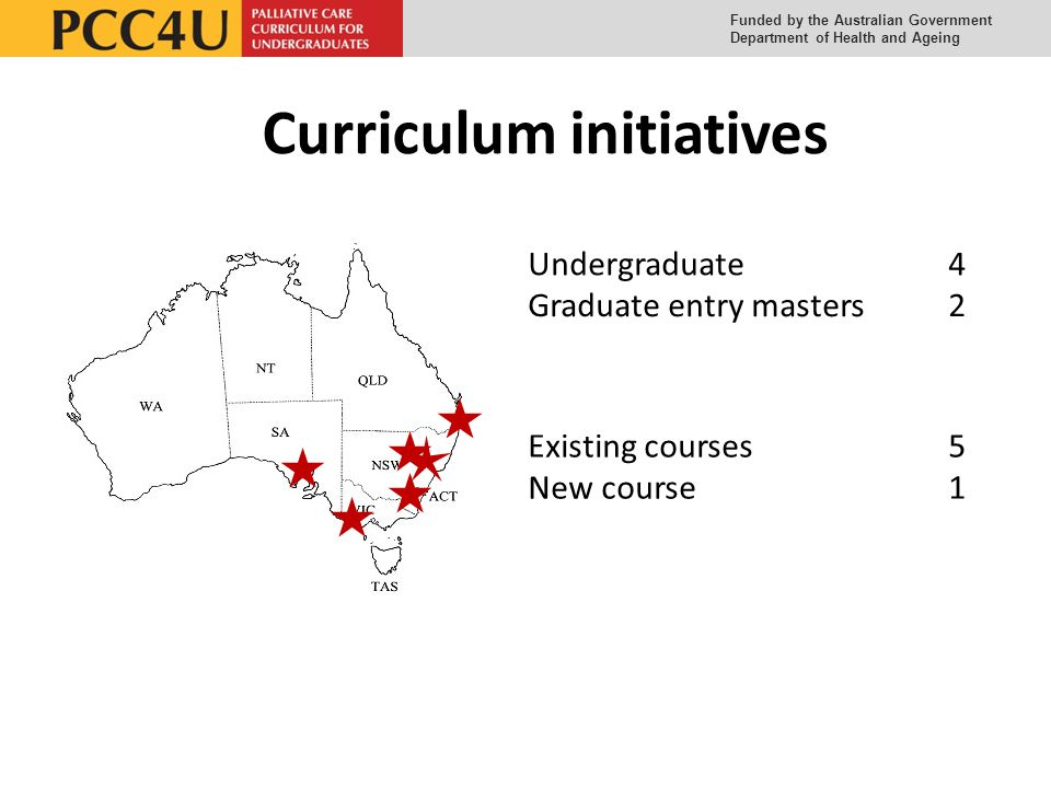 Funded by the Australian Government Department of Health and Ageing Curriculum initiatives Undergraduate 4 Graduate entry masters 2 Existing courses 5 New course 1