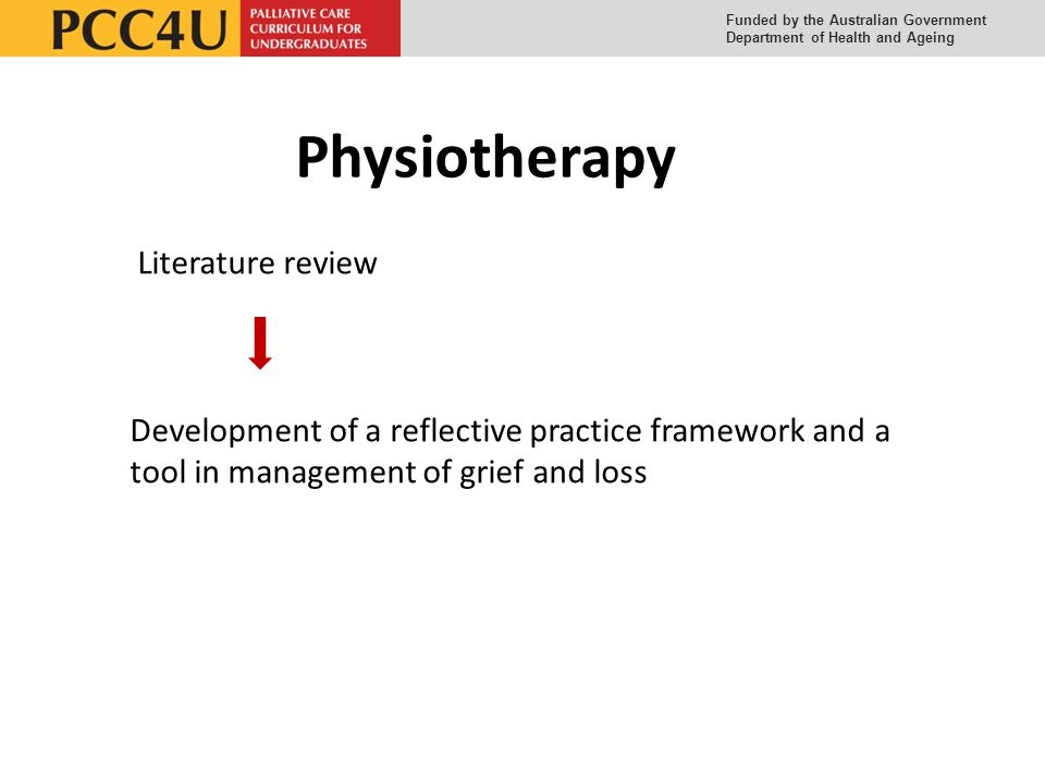 Funded by the Australian Government Department of Health and Ageing Physiotherapy Literature review Development of a reflective practice framework and a tool in management of grief and loss