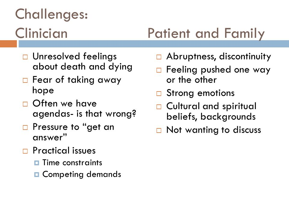 Challenges: Clinician Patient and Family  Unresolved feelings about death and dying  Fear of taking away hope  Often we have agendas- is that wrong.