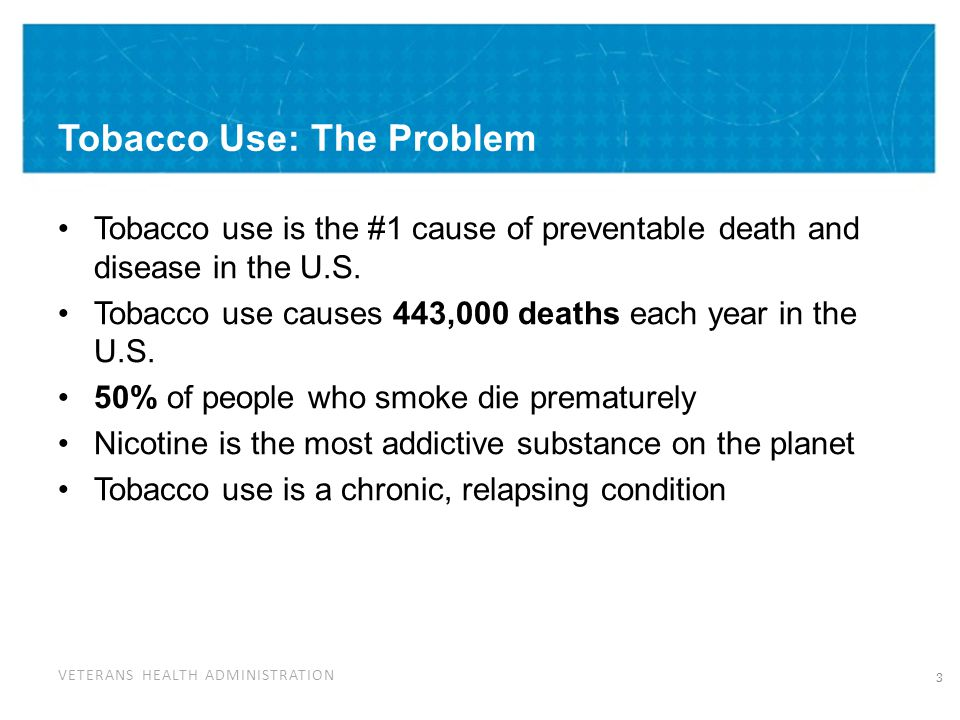 VETERANS HEALTH ADMINISTRATION Myths About Tobacco Use and Mental Illness 1.