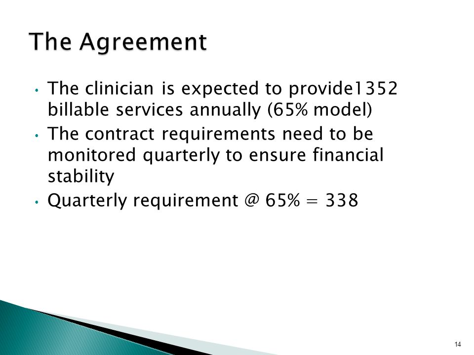 The clinician is expected to provide1352 billable services annually (65% model) The contract requirements need to be monitored quarterly to ensure financial stability Quarterly requirement @ 65% = 338 14
