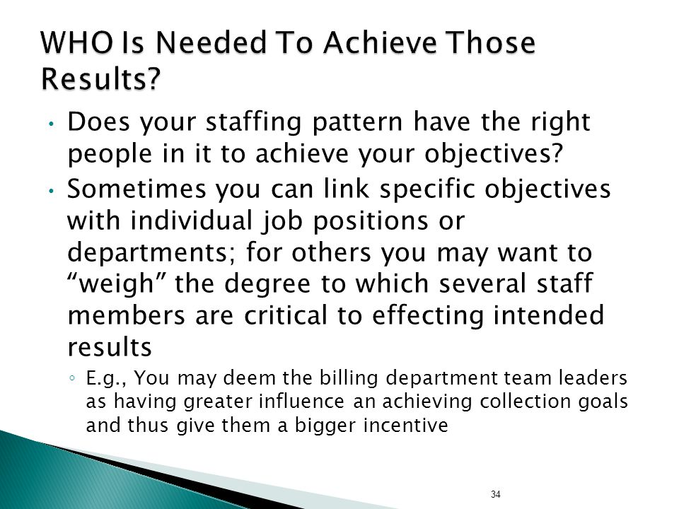 Does your staffing pattern have the right people in it to achieve your objectives.