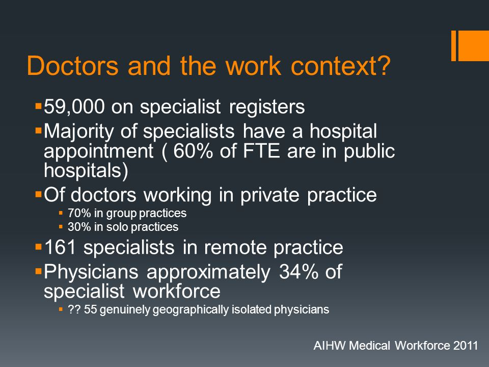 Doctors and the work context.