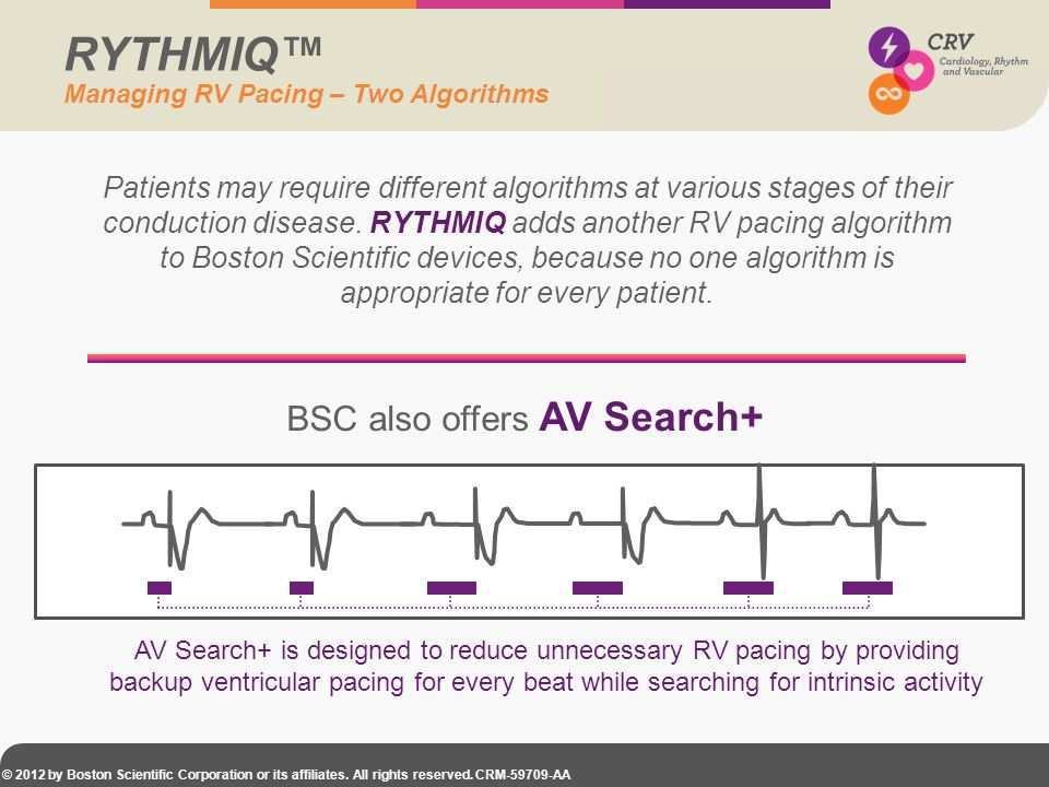 © 2012 by Boston Scientific Corporation or its affiliates. All rights reserved. CRM-59709-AA Patients may require different algorithms at various stag