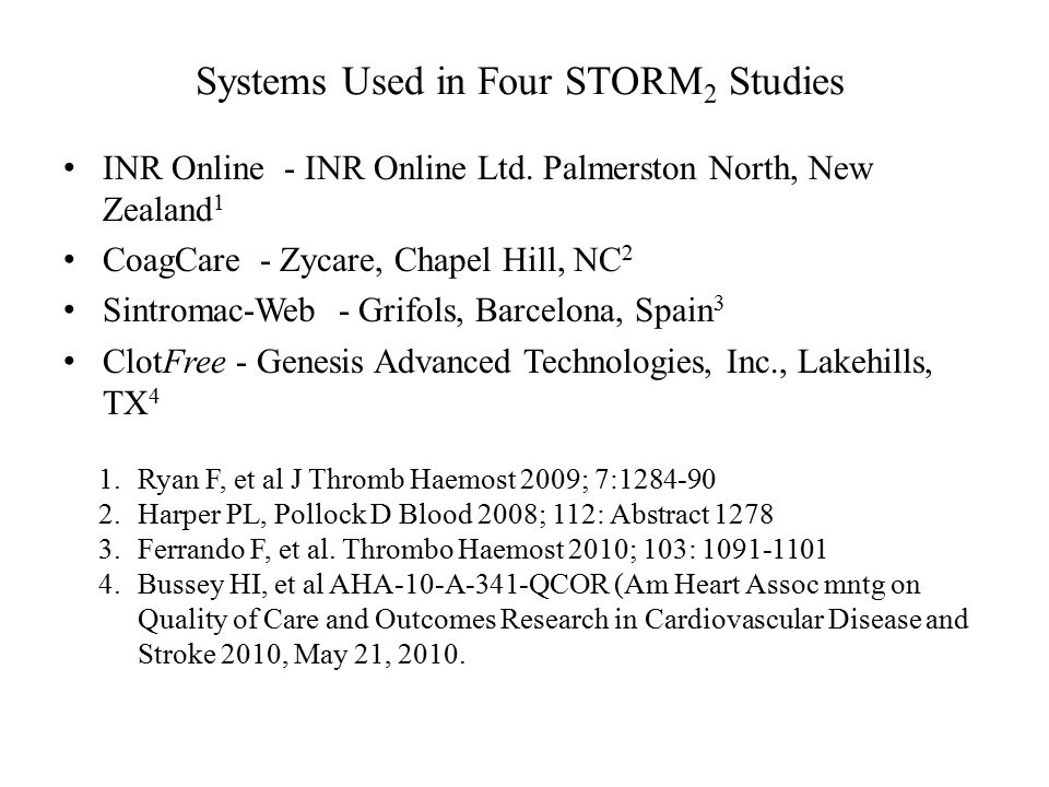 Systems Used in Four STORM 2 Studies INR Online - INR Online Ltd.