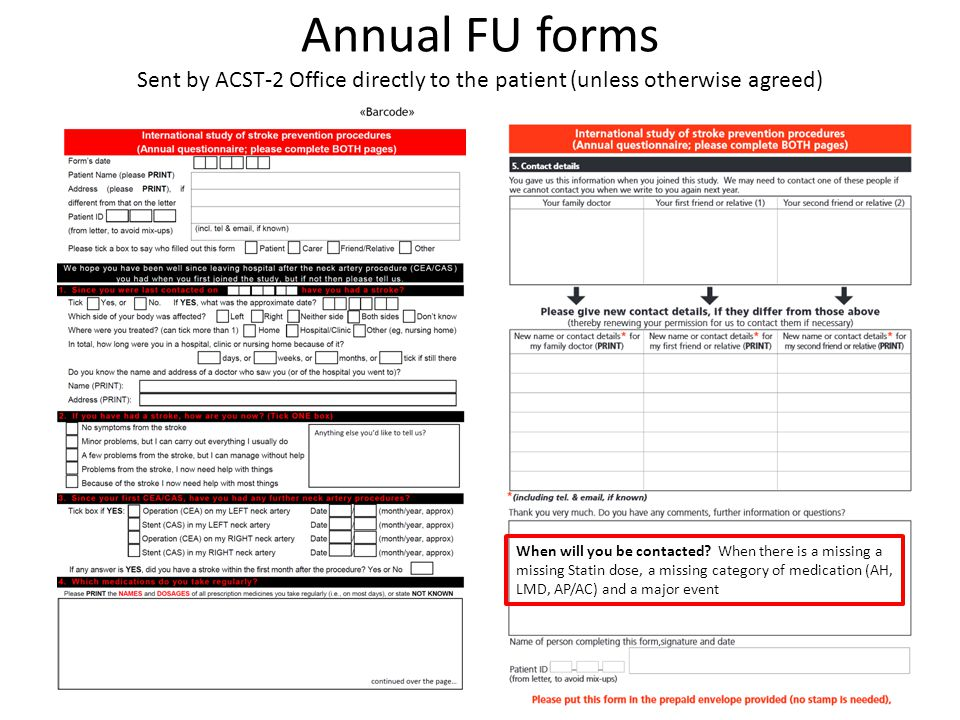 Annual FU forms Sent by ACST-2 Office directly to the patient (unless otherwise agreed) When will you be contacted.