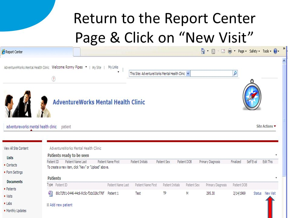 Return to the Report Center Page & Click on New Visit